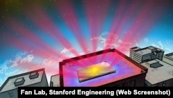 ILLUSTRATION cutline In this illustration the reflective panel is coated with a material invented by Stanford engineers. They designed it to help cool buildings without air conditioning. The material works in two ways. It reflects incoming sunlight (yello
