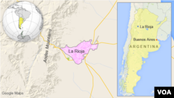 Map showing the location of La Rioja, Argentina