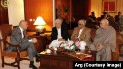 محمد اشرف غنی، رئیس جمهور افغانستان در دیدار با شماری از رهبران سیاسی پاکستان در اسلام آباد