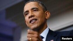 8일 바락 오바마 미국대통령이 백악관에서 열린 기자회견에서 정부 폐쇄 사태에 대해 말하고 있다.