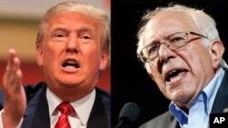 Kandidat Capres AS, Donald Trump (kiri) dari partai Republik dan Senator Bernie Sanders (Demokrat) dilaporkan memenangkan pemilihan pendahuluan di New Hampshire, Selasa (9/2).