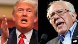 美国共和党总统参选人川普(左)和民主党总统参选人,来自佛蒙特州的桑德斯参议员