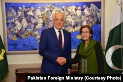 U.S. special representative for Afghanistan reconciliation, Zalmay Khalilzad, and Pakistani Foreign Secretary Tehmina Janjua, Jan. 17, 2019.