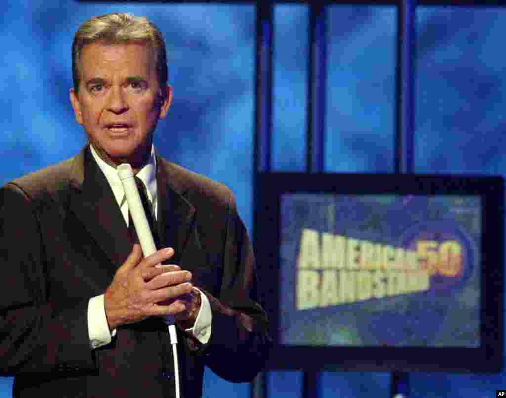 Clark pictured on stage during taping of American Bandstand's 50th anniversary special in 2002. (AP)