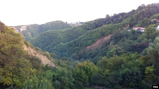 In hills and valleys like these, near Sighnaghi, archeologists have found evidence of grape cultivation and wine fermentation dating back to 7,000 BC, making eastern Georgia the site of the earliest known evidence of wine production, Georgia, October 2012