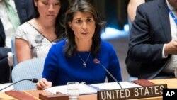 니키 헤일리 유엔 주재 미국대사가 지난달 28일 안보리 회의에서 발언하고 있다.