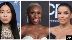 FILE - From left, Awkwafina, Cynthia Erivo, and Eva Longoria are among the 819 people who have been invited to join the Academy of Motion Picture Arts and Sciences. (AP Photo)