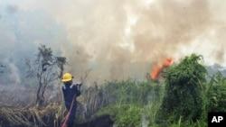 Petugas pemadam kebakaran bersiap memadamkan kebakaran hutan di Pekanbaru, Riau (27/2). (AP/Ronny Muharrman)