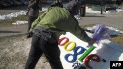 今年1月北大学子为谷歌献上鲜花