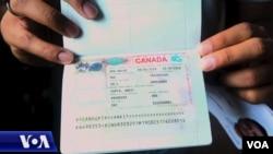 Ankit Gupta duke treguar vizën e tij të emigracionit drejt Kanadasë
