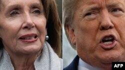 Prezidan Trump (adwat) ak Prezidan Chanm Depite a, Nancy Pelosi (agoch), gen opinyon depaman sou fason pou 2 pouvwa yo (Egzekitif la ak Lejislatif la) pèmèt gouvènman relouvri.