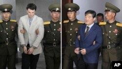 Deux autres Américains sont déjà détenus en Corée du Nord: à gauche (16 mars 2016), l'étudiant Otto Warmbier, condamné à 15 ans de travaux forcés, et à droite, le pasteur Kim Dong-Chul, en prison pour espionnage, Pyongyang, le 29 avril 2016.
