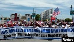Manifestación en Los Ángeles, pidiendo la reforma inmigratoria.