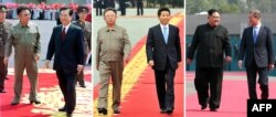 FILE - This combo shows a file photo, left, taken June 13, 2000, of North Korea's leader Kim Jong Il, left, welcoming South Korea's President Kim Dae-jung, right, at SoonAn airport in Pyongyang; a file photo, center, taken Oct. 2, 2007, of South Korea's President Roh Moo-Hyun, right, and North Korea's leader Kim Jong Il, left, viewing an honor guard during a welcoming ceremony in Pyongyang; and an image, right, taken April 27, 2018, of North Korea's leader Kim Jong Un, left, walking with South Korea's President Moon Jae-in, right, on the red carpet to the official sum   mit Peace House building for their meeting on the South's side of the truce village of Panmunjom.
