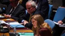 U.S. Ambassador to the United Nations Samantha Power (C) addresses the U.N. Security Council at the U.N. headquarters in New York, July 18, 2014.