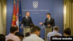 Crnogorski i hrvatski premijer, Milo Đukanović i Zoran Milanović, na konferenciji za novinare u Zagrebu (gov.me)