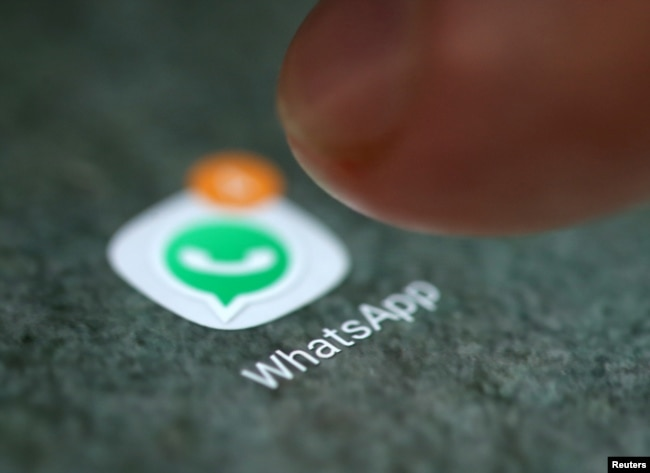 FILE - The WhatsApp icon is seen on a smartphone in this picture illustration, in Sarajevo, Bosnia and Herzegovina.