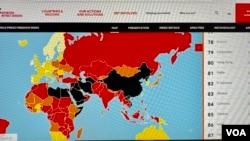 """無國界記者組織4月20日發表""""2021世界新聞自由指數""""報告,香港連續兩年排名第80位,與去年並列有統計以來最低排名 (美國之音/湯惠芸)"""