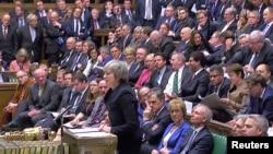 테레사 메이 영국 총리가 15일 영국 의회에서 '브렉시트' 합의안 표결에 앞서 연설하고 있다.