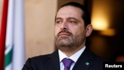 FILE - Lebanon's Prime Minister Saad al-Hariri at the governmental palace in Beirut, Lebanon, Oct. 24, 2017.