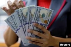 Seorang pegawai valas di perusahaan penukaran valas di Jakarta sedang menghitung uang dollar, 23 Oktober 2018. (Foto: Reuters)