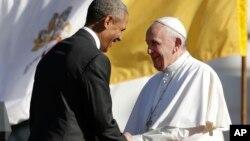 Папа Франциск и президент США Барак Обама. Белый дом. Вашингтон. 23сентября 2015 г.