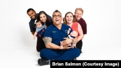 Brian Salmon (center) is a doula who lives and works in San Antonio, Texas.