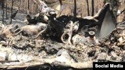 Le reste d'un hélicoptère après un accident en Tanzanie. ARCHIVES