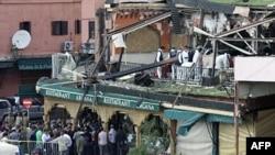 Hiện trường sau vụ nổ ở tiệm Café Argana ở quảng trường Jamaa el-Fnaa, Marrakesh, Ma-rốc, ngày 28 tháng 4, 2011