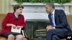 美国总统奥巴马4月9日在白宫会晤巴西总统罗塞夫