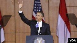 Presiden AS Barack Obama saat memberikan pidato di Balairung Universitas Indonesia, Depok, Rabu 10 November 2010.