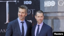 "David Benioff dan D.B. Weiss tiba di acara penayangan perdana musim terakhir serial ""Game of Thrones"" di Radio City Music Hall di New York, 3 April 2019."