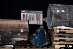 Pieces of an Iranian Qiam Ballistic Missile are on display after US Ambassador to UN Nikki Haley unveiled classified information intending to prove Iran provided the Houthi rebels in Yemen with arms, during a press conference, Dec. 14, 2017, in Washington.
