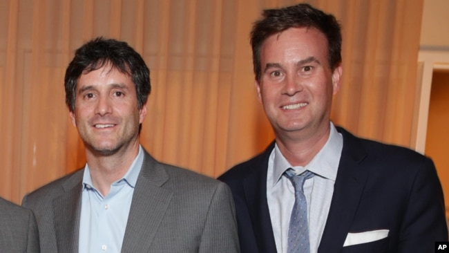 FILE - Jamie Erlicht, left, and Zack Van Amburg are pictured at a Showtime/Sony Pictures Television gathering in Culver City, Calif., July 16, 2014.
