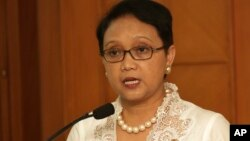 FILE - Indonesian Foreign Minister Retno Marsudi speaks during a press conference in Jakarta, Feb. 17, 2015.