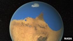 An illustration of Mars' ancient ocean of liquid water.