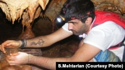 Sevag Mehterian, with help from expert cavers Payam Banihashemi and Mohammad Nabikhani, collected stalagmites from Qal'e Kord in Iran.