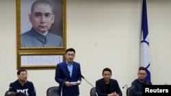 新當選的國民黨黨主席江啟臣在記者會講話。(2020年3月7日)