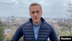 Russian opposition politician Alexei Navalny is seen in a still image from video in Germany, in this undated image obtained from social media January 13, 2021.