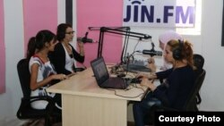 Women are seen in during a broadcast of JIN-FM, a Syrian radio station specializing in women issues. (Courtesy - JIN-FM)