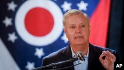 Sen. Lindsey Graham, R-S.C., speaks during a campaign event for Ohio Attorney General and Republican gubernatorial candidate Mike DeWine, Oct. 30, 2018, in downtown Cincinnati.