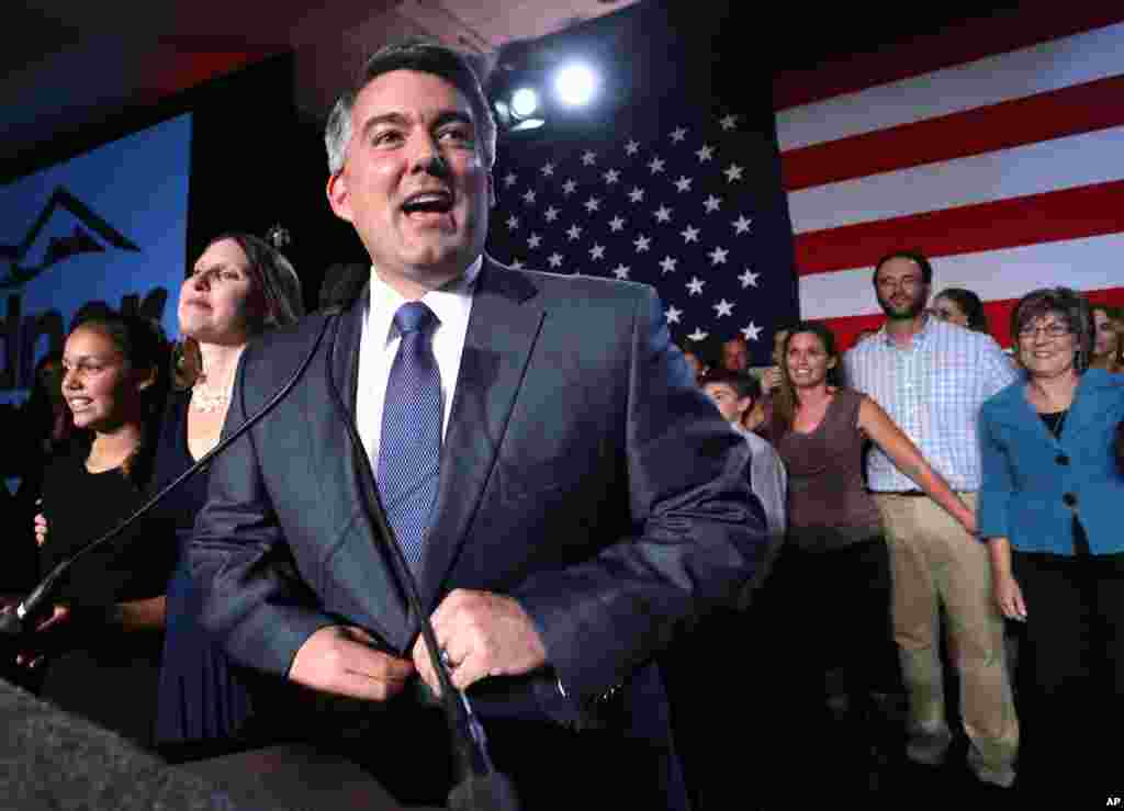 Senator-elect Cory Gardner, a Colorado congressman, delivers his victory speech in Denver Nov. 4, 2014.