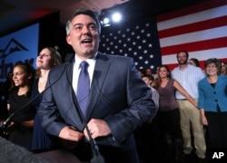 Senator-elect Cory Gardner, a Colorado congressman, delivers his victory speech in Denver Nov. 4, 2014.