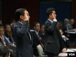 华为与中兴高级主管在国会举证(美国之音视频截图)