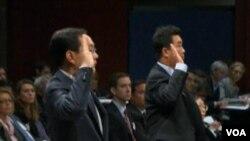 華為與中興高級主管在國會舉證(美國之音視頻截圖)
