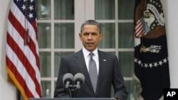 President Obama speaks on the death of Moammar Gadhafi, Oct. 20, 2011.