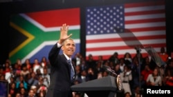 Presiden AS Barack Obama di University of Johannesburg Soweto, Afrika Selatan (29/6). (Reuters/Jason Reed)