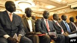 Wakilan tawagar da take gaba da gwamnatin Sudan ta kudu a Addis Ababa, domin fara shawarwari.
