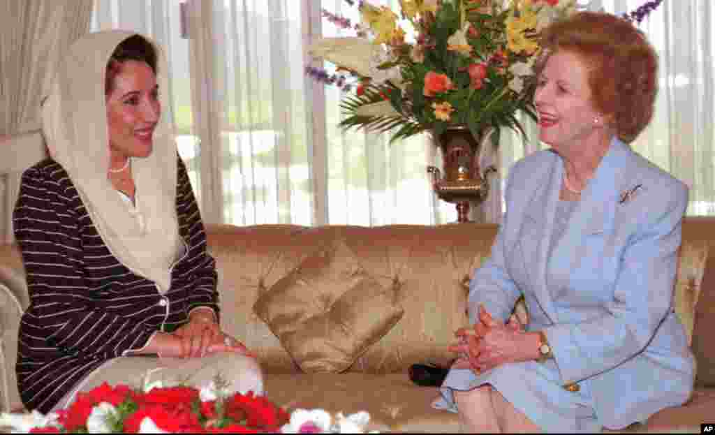 Then Pakistani Prime Minister Benazir Bhutto met with former British Prime Minister Margaret Thatcher in Islamabad, Pakistan, March 24, 1996.