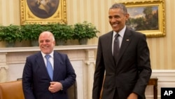 Iroq Bosh vaziri Haydar al-Abadiy Oq uyda AQSh rahbari Barak Obama bilan, 14-aprel, 2015
